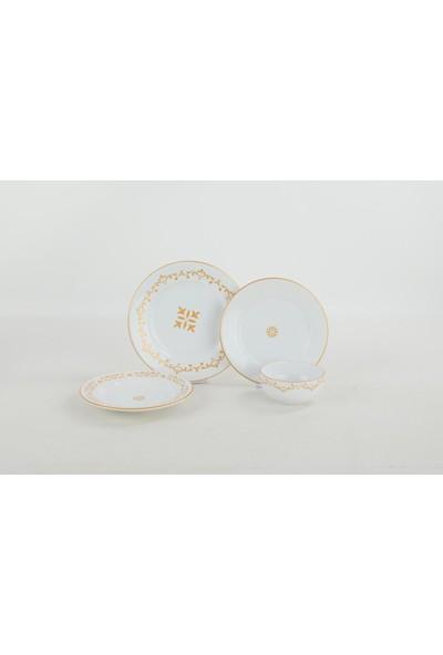 Keramika 6 Kişilik Beyaz Gold Sultan Yemek Takımı