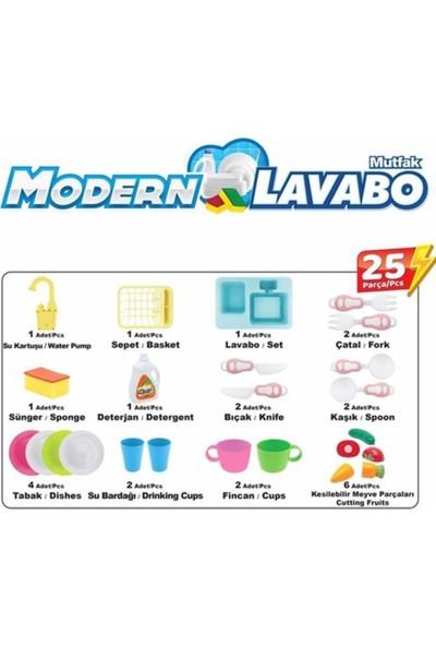 Kayyum Oyuncak Pilli Modern Mutfak Lavabo Seti 25 Parça - Pembe