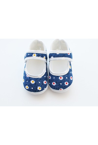 Puppis Baby Mavi Çiçek Desenli Kız Bebek Ayakkabı