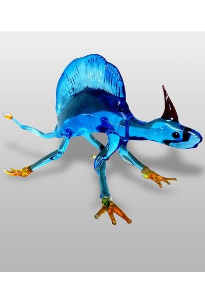 Jendüv Dekoratif Murano Cam Biblo El Yapımı Ejderha Mavi 15 cm