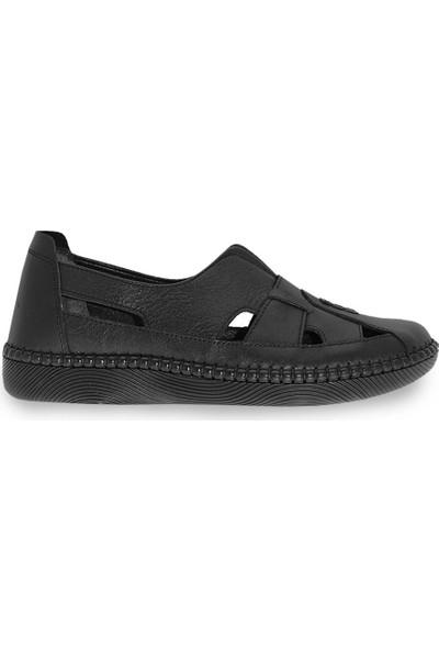 Çizgi Deri Kadın Babet Ayakkabı