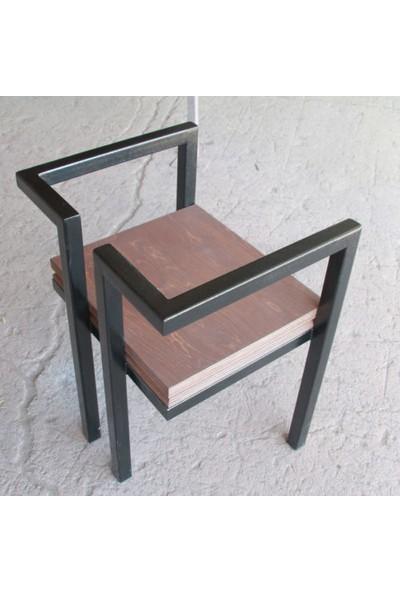 Abronya Metal Ahşaplı Tabure Modeli Yüksek Sandalye Bahçe Sandalyesi 1 Adet