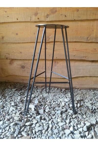 Abronya Bar Sandalyesi Metal Ahşaplı Tasarım Sandalye Tabure Modelleri 1 Adet