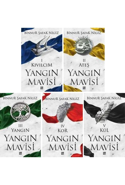 Yangın Mavisi Serisi 5 Kitap Set - Binnur Şafak Nigiz - Kıvılcım - Ateş - Yangın - Kor - Kül
