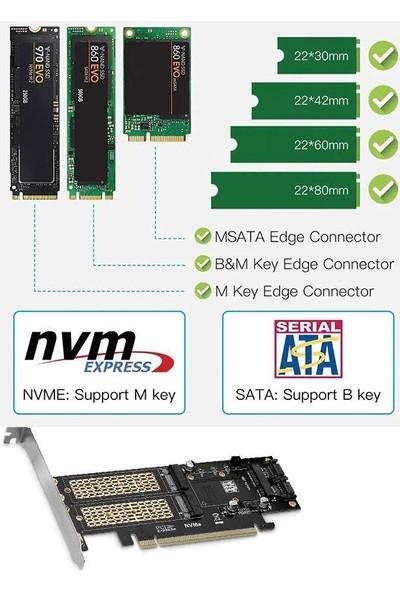 Pcıe 16X M2 Nvme Ngff Msata SSD 3in1 Adaptör Kartı