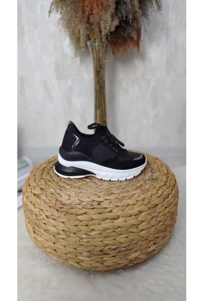Park Moda Cass Kadın Spor Ayakkabı Cilt Süet Siyah