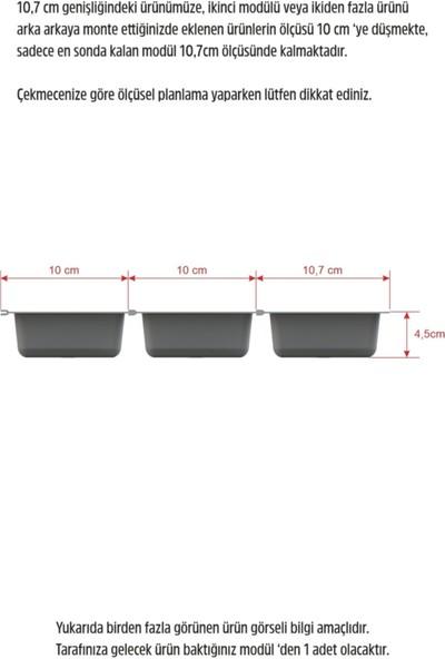 Adilon Mutfak Çekmece Içi Kaşıklık 2 Bölmeli Modül 11 x 48CM Antrasit Gri