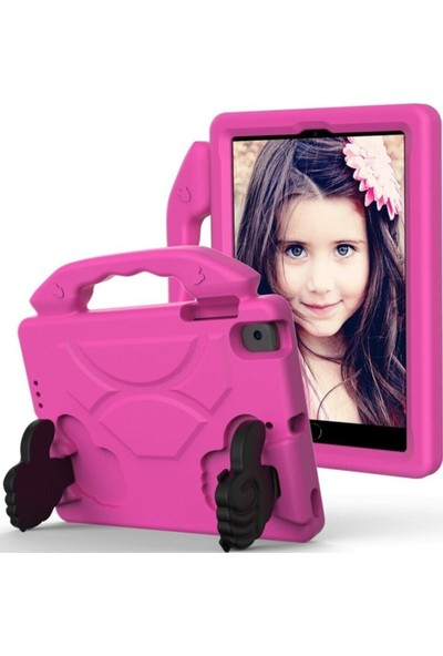 BluppleSamsung Galaxy Tab 10.1'' T510 Like Tablet Kılıfı Tutmalı Standlı Silikon Koruma Pembe Çocuk