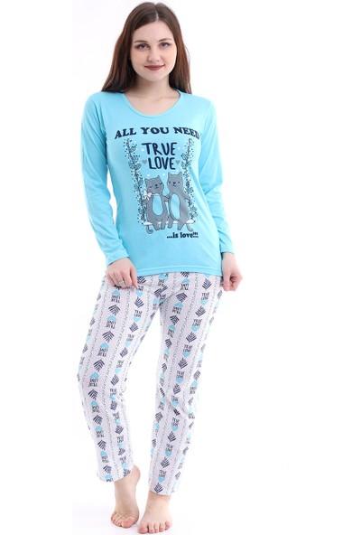 Kadın Mavi Renk True Love ve Kedi Baskılı Pijama Takımı