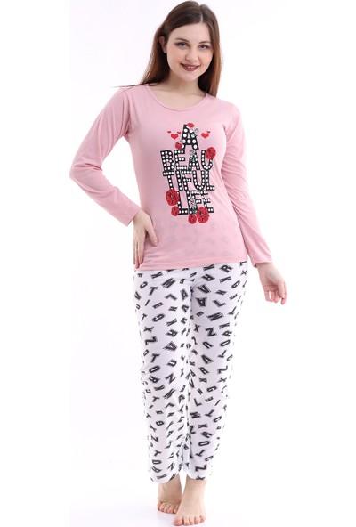 Kadın Gül Kurusu Renk Beautiful Yazı Baskılı Pijama Takımı