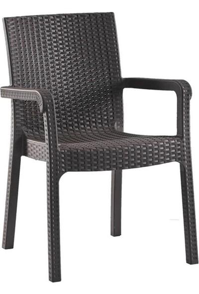 Romanoset Plastik Victor Rattan Balkon ve Bahçe Sandalyesi 4'lü Set
