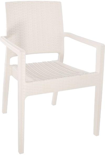 Romanoset Plastik Terra Kollu Rattan Sandalye 4'lü Set