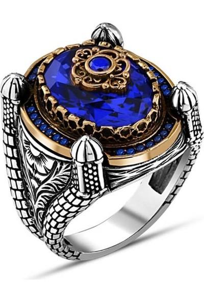 Alyansevim Parlament Mavisi Taşlı 925 Gümüş Erkek Yüzük