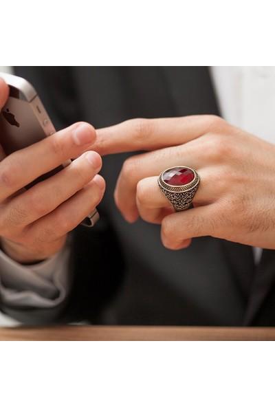 Alyansevim Oval Kırmızı Taşlı Faset Kesim 925 Gümüş Erkek Yüzük