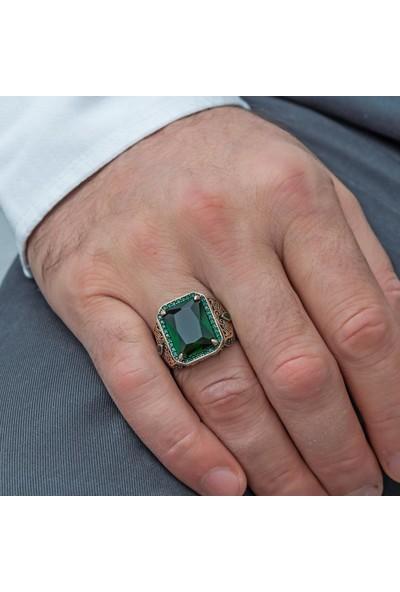 Alyansevim Kare Yeşil Taşlı 925 Gümüş Erkek Yüzük