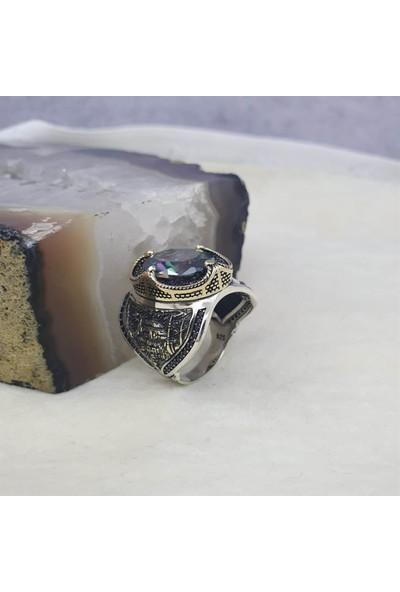 Alyansevim Ayosofya Camii Motifli Mistik Topaz Taşlı Gümüş Erkek Yüzük