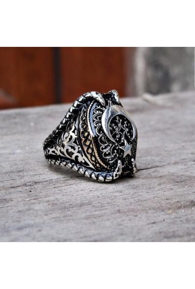 Alyansevim Ayyıldız Pençeli 925 Gümüş Erkek Yüzük
