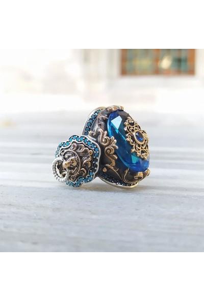 Alyansevim Aqua Mavi Taşlı Yeni Tasarım Gümüş Erkek Yüzük