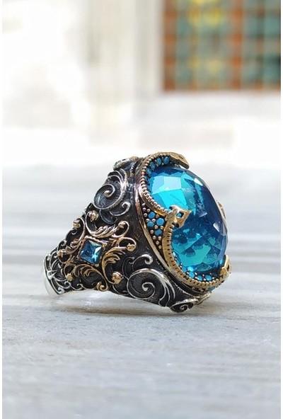 Alyansevim Aqua Mavi Taşlı Hünkar Gümüş Erkek Yüzük