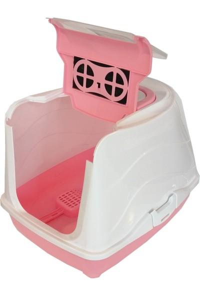 Markapet Karbon Filtreli Üstü Açılabilir Kedi Tuvaleti 35*36*49 cm Pembe