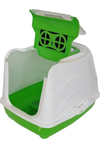 Markapet Karbon Filtreli Üstü Açılabilir Kedi Tuvaleti 35*36*49 cm Yeşil