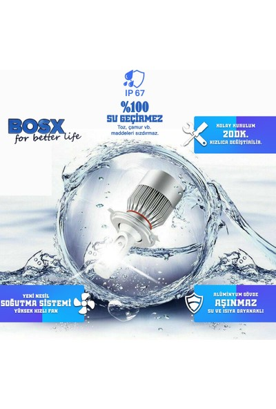C9 Bosx Iceblue Buz Mavi LED Xenon Far Ampulü 4400LM 10000K H4
