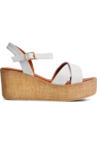 Park Fancy 702 Beyaz Kadın Sandalet