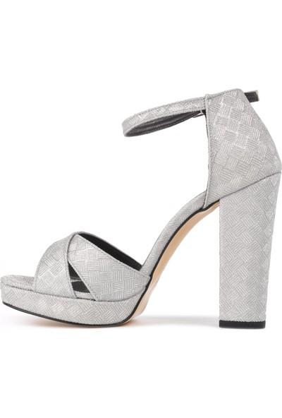 Park Moda K13 Gümüş Kadın Topuklu Ayakkabı
