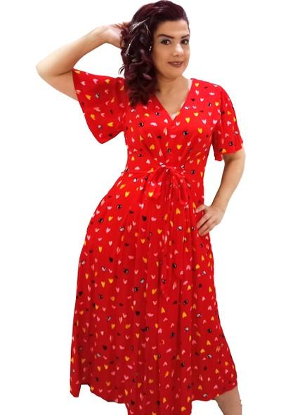 Newton Kırmızı Kalplı Desenli Kısa Kollu Gömlek Elbise
