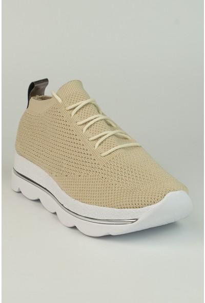 Marine Shoes Kadın Bej Triko Bağcıklı Spor Ayakkabı