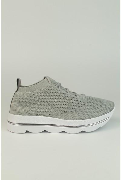 Marine Shoes Kadın Gri Triko Bağcıklı Spor Ayakkabı