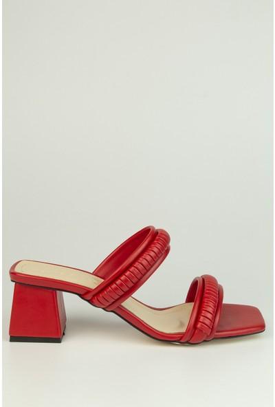 Marine Shoes Kadın Kırmız Cilt Terlik