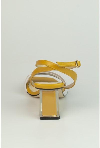 Marine Shoes Kadın Hardal Cilt Sandalet