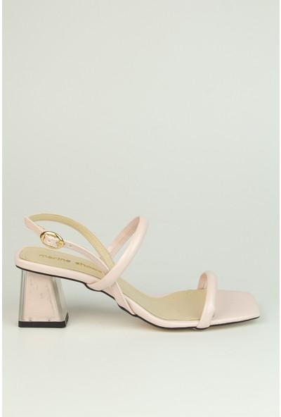 Marine Shoes Kadın Pudra Rugan Sandalet