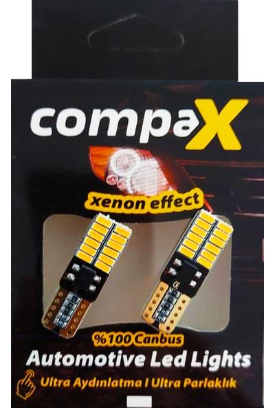Compax LED Ampul Turuncu Dipsiz T10 Park Ampulü 12V 24 Ledli Canbuslu 2 Adet