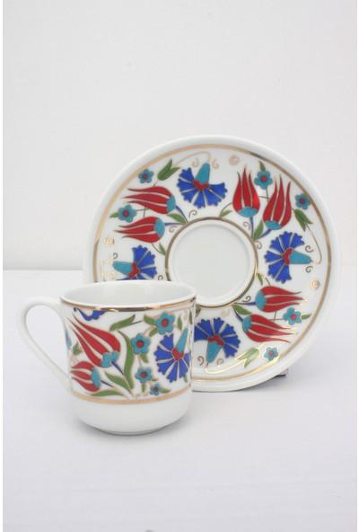 Eren Çini Seramikçini Desenli Porselen 6'lı Kahve Fincan Takımı 75 ml