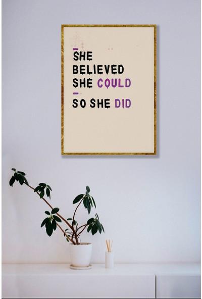 Persowall Kendine Inan Gold Çerçeve Oturma Yatak Odası Modern Tasarım Dekoratif Yazılı Poster Çerçeveli Tablo