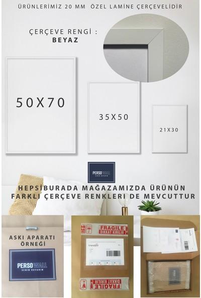 Persowall Toz Pembe Beyaz Çerçeve Yatak Çocuk Odası Modern Tasarım Dekoratif Poster Çerçeveli Tablo 2'li Set