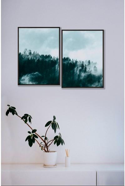 Persowall Sisli Dağ Siyah Çerçeve Oturma Odası Modern Tasarım Dekoratif Poster Çerçeveli Tablo 2'li Set