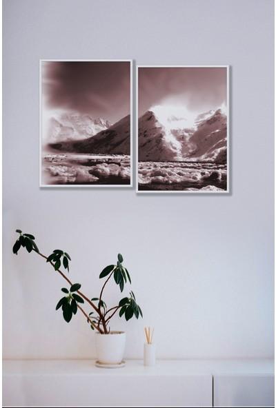 Persowall Dağ Manzara 2 Beyaz Çerçeve Oturma Odası Modern Tasarım Dekoratif Poster Çerçeveli Tablo 2'li Set