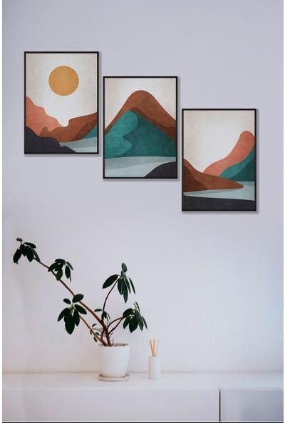 Persowall Özel Manzara Siyah Çerçeve Oturma Odası Modern Tasarım Dekoratif Poster Çerçeveli Tablo 3'lü Set
