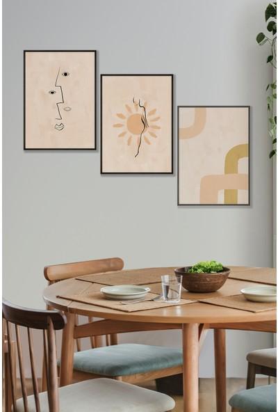 Persowall Soyut Üçlü Siyah Çerçeve Oturma Odası Modern Tasarım Dekoratif Poster Çerçeveli Tablo 3'lü Set