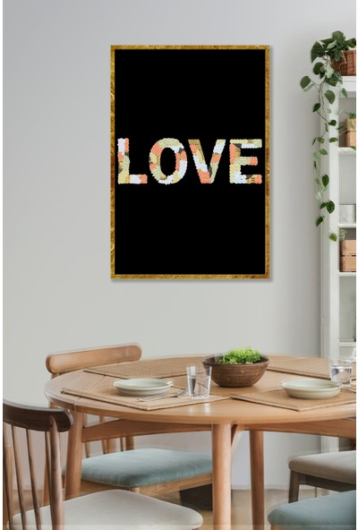 Persowall Love!2 Gold Çerçeve Oturma Yatak Odası Modern Tasarım Dekoratif Minimalist Poster Çerçeveli Tablo
