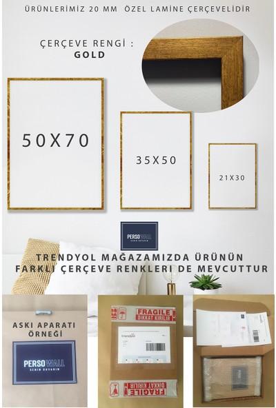 Persowall Flamıngo! - Gold Çerçeve Oturma Yatak Odası Modern Tasarım Dekoratif Minimal Poster Çerçeveli Tablo