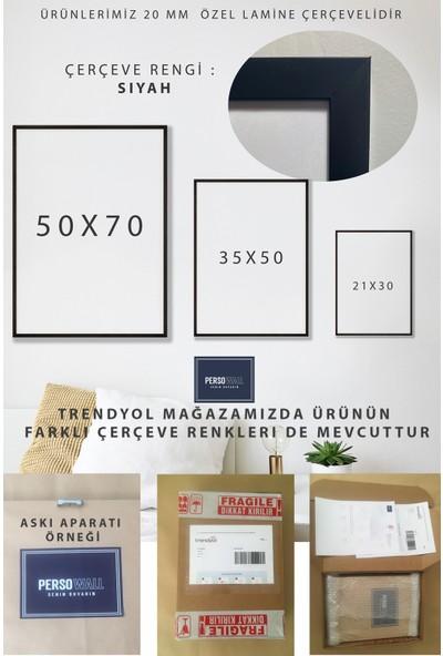 Persowall Soyut No5 Siyah Çerçeve Oturma Yatak Odası Modern Tasarım Dekoratif Minimal Poster Çerçeveli Tablo
