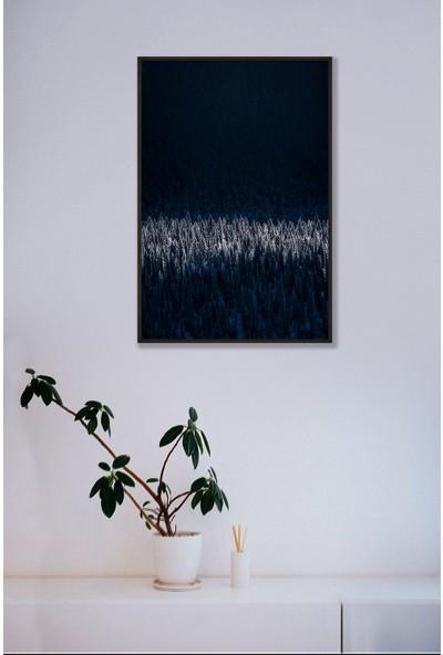 Persowall Manzara Çam Siyah Çerçeve Oturma Yatak Odası Modern Tasarım Dekoratif Minimal Poster Çerçeveli Tablo