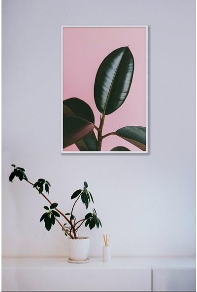 Persowall Toz Pembe Beyaz Çerçeve Oturma Yatak Odası Modern Tasarım Dekoratif Minimal Poster Çerçeveli Tablo