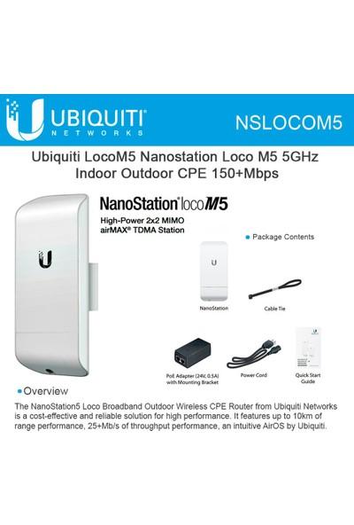 Ubnt Nanostatıon Loco M5 150MBPS 2X2MIMO 13DBI 5ghz Outdoor Access Poınt