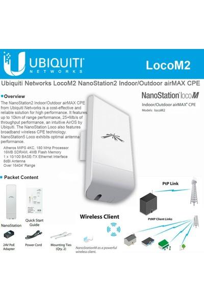 Ubnt Nanostatıon Loco M2 150MBPS 2X2MIMO 8dbı 2.4ghz Outdoor Access Poınt