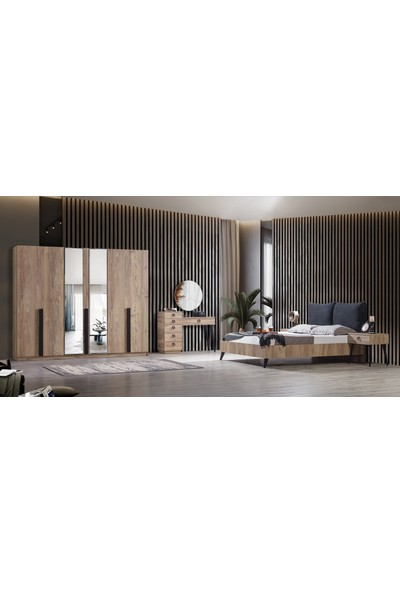 Feyza Mobilya Premium 6 Kapılı Bazalı Yatak Odası No3